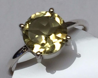 Natural 2ct Lemon Citrine 925 Solid Sterling Silver Solitaire Ring sz 8.5