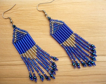 Royal blue (saphire blue)-silver long dangle earrings, seed bead fringe earrings, chandelier earrings, seed bead jewelry, gift for her