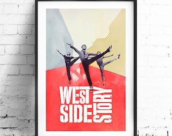 "WEST SIDE STORY, Original Art, Minimalist Movie Poster Print 13 x 19"""