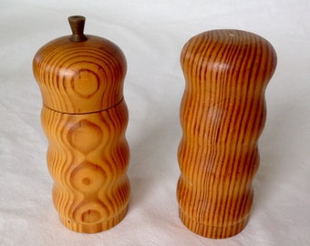 Beautifully Grained Wood Salt Shaker and Pepper Grinder from Sweden
