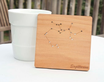 Reclaimed wood constellation horoscope star sign coasters