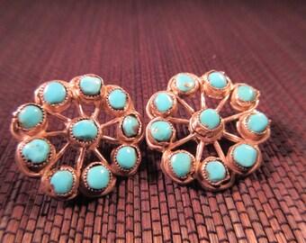 Zuni Sterling Silver Turquoise Earrings