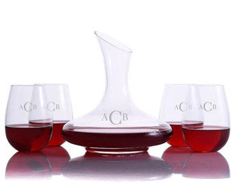Personalized Engraved Crystalize Mozart Wine Decanter Stemless Set - Free Shipping