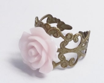 Adjustable Filigree Pink Flower Ring -  Antique Bronze Ring - Victorian Vintage Style - Resin Flower - Costume Jewelry