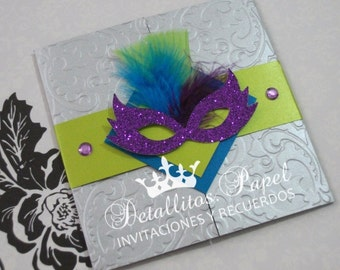 Quinceanera invitation Masquerade Invitation, Mardi Gras Invitation, Sweet 16 invited, Mask invitations 50