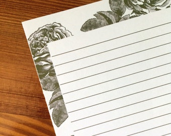 Vintage Rose Writing Paper Stationery in Black Lined