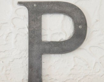 "Metal Letters P Sign 8x6"", modern Raw Metal, Recycled Welded Steel, CNC Plasma"