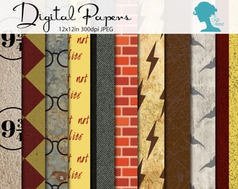 Witch & Wizardry Digital Scrapbooking Paper Pack, Buy 2 Get 1 FREE. Instant Download