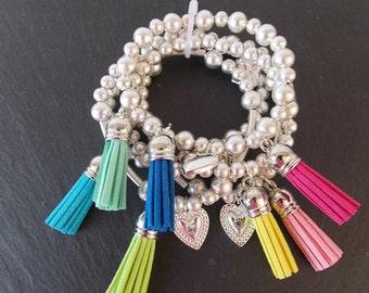 Silver Stretch Tassel Stacking Bracelet Set