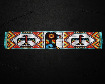 Huichol Anklet, Native American Anklet, Thunderbird Anklet, Eagle Anklet, Huichol Jewelry, Native American Jewelry, Thunderbird Jewelry