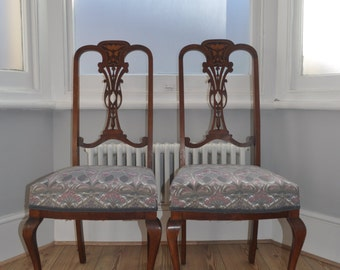 SOLD: Antique Vintage Art Nouveau Dining Chairs with Liberty Fabric