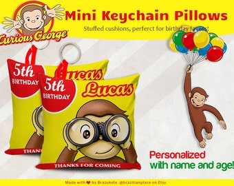 10 Personalized Curious George Mini Cushion Pillows Keychain Key Keeper Birthday Favors Stuffed Anti Allergic Characters
