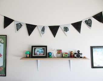 Space Themed Bunting Banner - Handprinted Illustrations