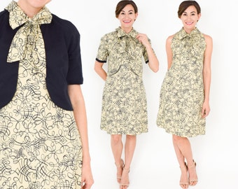 60s Creme Print Sheath Dress with Shug | Abstract Cotton Print Sleeveless Dress | Medium