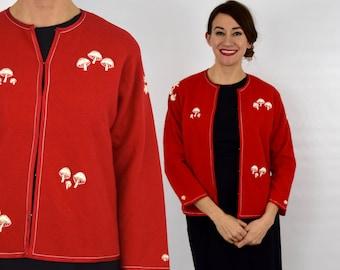 50s Red Wool Cardigan | Embroidery Cardigan | Hong Kong | Medium