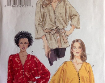 Vogue 8668 Very Easy Loose Fitting Button Front Blouse or Tunic with V Neck - Size XS - M