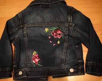 Floral Handpainted denim jacket