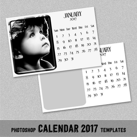 2017 Monthly Calendar PSD Template 4x6 Instant