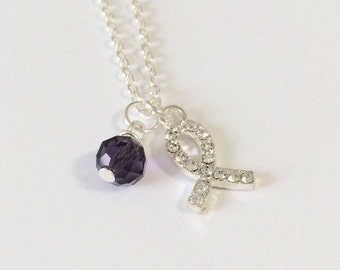 Silver Ribbon Necklace/Silver Rhinestone Ribbon Necklace/Silver Awareness Ribbon Necklace/Ribbon and Gemstone Necklace