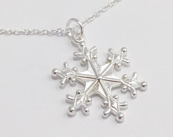 Silver Snowflake Necklace/Large Snowflake Necklace/Large Silver Snowflake Necklace/Winter Necklace/Silver Winter Necklace