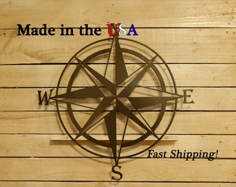 Large Compass Rose, Nautical Compass, Directional Decor, Metal Wall Art, Nautical Decor, Compass, Wall Compass, Wall Hanging Decor, S1136