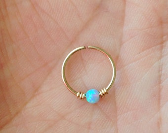 Opal cartilage ring, tragus earring. 10 mm.