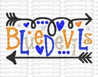 SVG, DXF, EPS Cut file, Blue devils fun arrows svg,  socuteappliques, SvG Sayings, football svg, football sister svg, football mom svg