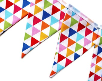 Geometric bunting - triangle garland - geometric garland - party bunting - colourful bunting - rainbow bunting - craft room decor