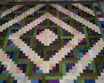 FREE SHIPPING King Size Handmade Scrap Quilt log cabin green blue red white