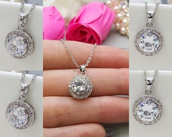 Set of 5 Wedding bridal AAA Cubic Zirconia Necklace, CZ  bridesmaid Necklace gifts