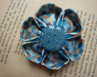 Fabric flower brooch kanzashi Argyle , in a blue button center - Mother's Day Gift - Spring