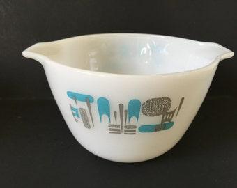 Vintage Blue Heaven Mixing Bowl...Mid Century Modern Serving Bowl..Modern Abstract Design Kitchen Cinderella Bowl...Retro Design Bowl..