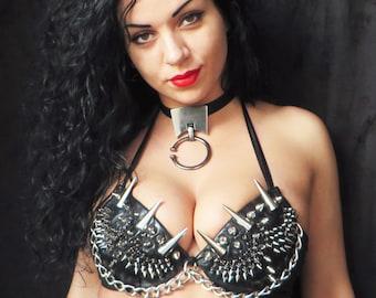 Diana Bastet Heavy Metal Style Studded Bra, Spikes on a Bra, Rock Style Bra, Metal Style Bra