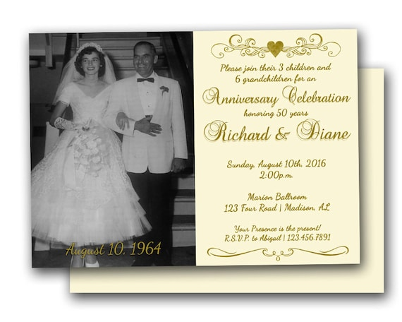 50th Golden Anniversary Party Invitation