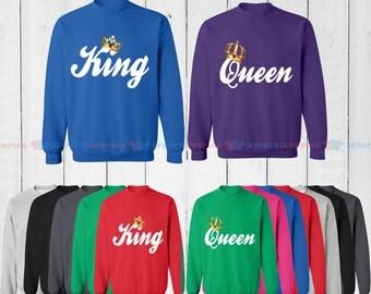 King & Queen - Matching Couple Sweatshirt - His and Her Sweatshirts - Love Sweaters