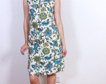 1960s Green Cotton Summer Dress