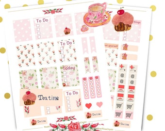 rose and tea planner stickers - instant download - printable sticker kit - commercial use allowed - weekly sticker sheets - watercolor roses