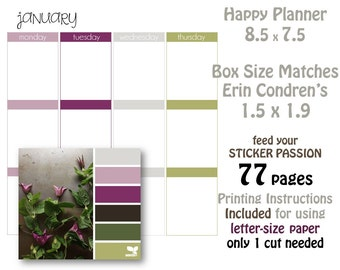 Printable planner Pages can be used with Erin Condren Size planners or happy planners - Vine Colors Purple Green