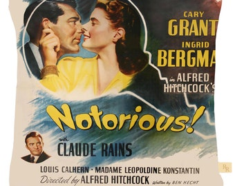 Film print cushion cover Notorious featuring Cary Grant and Ingrid Bergman