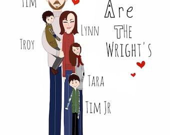 Customize family portrait-FAMILY OF 3-6 personalize-8X10-Family HEARTS print-cartoon family Art
