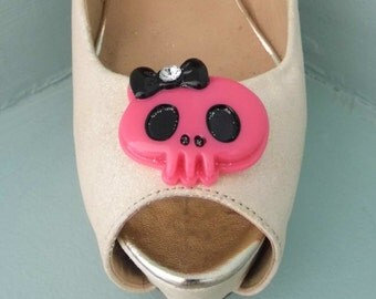 Quirky Bright Pink Candy Skull Shoe clips with Black Diamante Bow