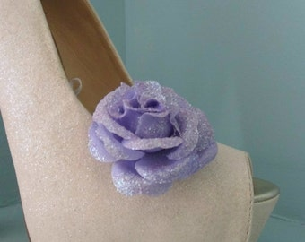 Beautiful Deeree Lilac Glittery Flower Shoe Clips