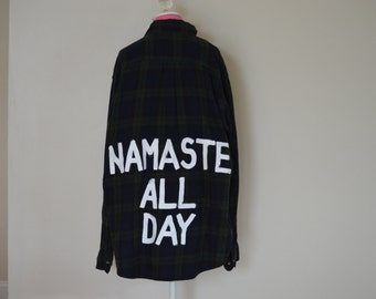 "Vintage ""Namaste All Day"" Flannel"