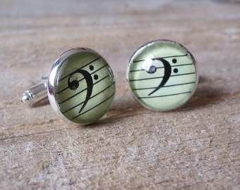Bass Clef Cufflinks - gift for Cellists, Bass Players, Tombonists, Tuba Players...