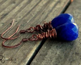 Oxided copper wire wrapped dangle earrings with gemstone drops soldalite earrings, birthstone, sodalite, blue copper oxided jweels
