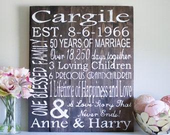 Parents Anniversary Gift, 50th Anniversary Gift, Gift for Parents, Personalized Gift, Anniversary, Wedding Anniversary, Custom Name Sign