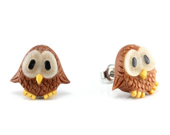 "Hand Carved - ""Baby Owl"" - Sabo Wood with Bone, Jackfruit, and Ebony Wood Inlay Stud Earring - Wisdom of Owls"