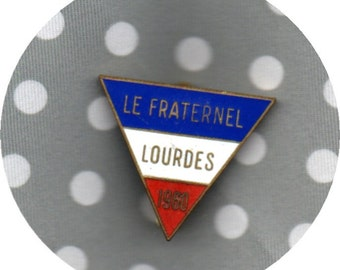 1960 French Vintage enamel RED WHITE and BLUE Lourdes brooch/pin perfect enamel Lourdes Fraternel 1960