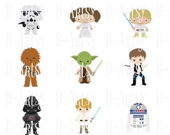 1 inch circles of Star wars, Boba fett, Princess Leia, Han Solo, Darth Vader, Luke Skywalker, Chewbacca etc... Instant Download