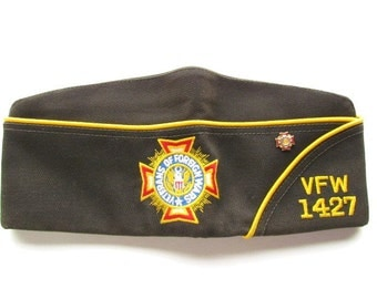 Vintage VFW Veterans of Foreign Wars Cap with Pin, Indiana 1427 (Size 7 1/4)